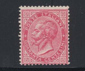 Italy Sc 31 MOG. 1863 40c carmine King Victor Emmanuel II, small HR, sound, Cert