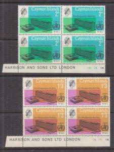 CAYMAN ISLANDS, 1966 WHO pair,blocks 4, Pl. #'s