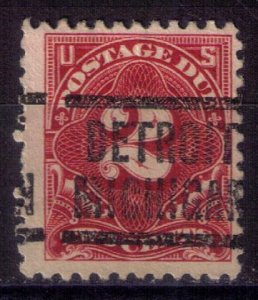 US Sc #J62 Precancel Detroit Michigan Fine 1917