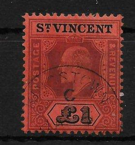 ST.VINCENT SG93 1911 £1 PURPLE & BLACK ON RED USED