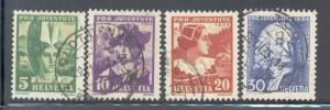 Switzerland Sc B69-72 1934 Pro Juvente stamp set used