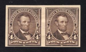 US# 254P5 Dark Brown - Pair - Proof on Stamp Paper - O.G. - Hinged