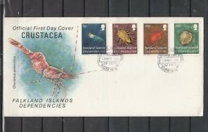 Falkland Is. Scott cat. IL 76-79. Marine Life. First day cover.