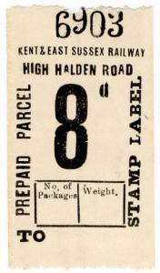 (I.B) Kent & East Sussex Railway : Prepaid Parcel 8d (High Halden Road)