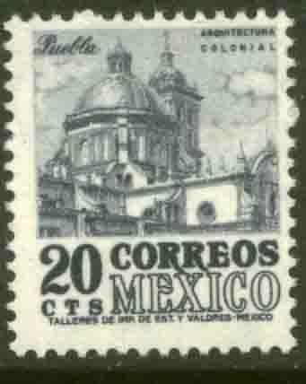 MEXICO 878 20cts 1950 Def 4th Issue Fluorescent unglazed MNH