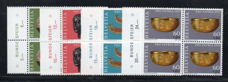 Switzerland Sc B430-33 1975 Pro Patria stamp set mint NH Blocks of 4