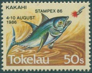 Tokelau 1986 SG114a 50s Fish Stampex overprint MNH