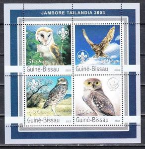 Guinea Bissau, Mi cat. 2041-2044 A. Owls sheet of 4. ^