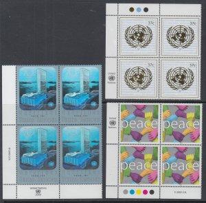 UN New York 837-839 Inscription Plate Block MNH VF