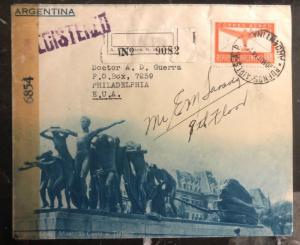 1944 Buenos Aires Argentina Tourist Advertising Censor Cover To Philadelphia Usa