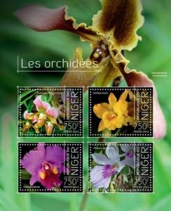 Niger - 2013 Wild Exotic Orchids of Africa  4 Stamp Sheet 14A-350