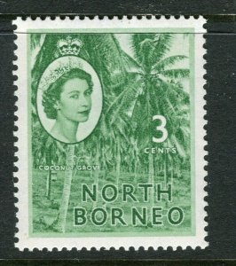 NORTH BORNEO; 1955 early QEII issue fine Mint hinged value, 3c