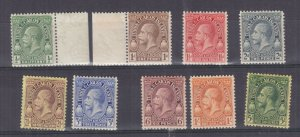 TURKS & CAICOS ISLANDS , 1928 KGV Postage & Revenue set tof 8 to 1s. & 5s., lhm.