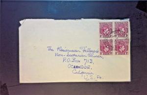 Nigeria 1952 Cover to USA w/ Block of 4 - Z1282