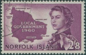 Norfolk Island 1960 SG40 2/8d purple Local Government QEII FU
