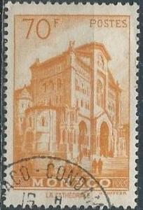 Monaco 408 (used) 70fr Cathedral of Monaco, org yel (1957)
