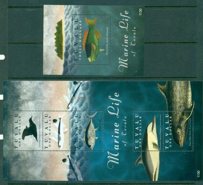 Tuvalu - Sc# 1192-3. 2011 Marine Life. MNH Souv. Sheets. $16.75.