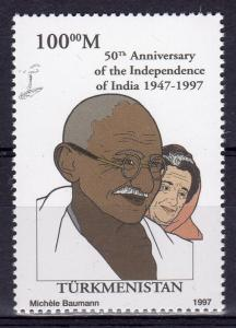 Turkmenistan 1997 YT#60 GANDHI (1)  yellow paper perforated MNH