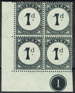 TRINIDAD 1905 POSTAGE DUE 1D PLATE 1 BLOCK */** WMK MULTI CROWN CA