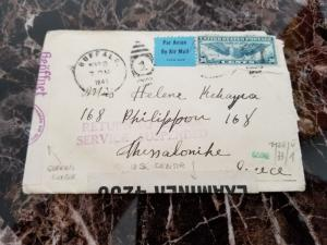 1941 USA Airmail Cover Censored to Greece Returned Service Suspended Due to War
