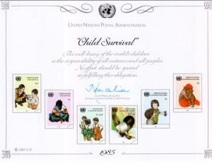 UN SC28 Child Survival Souvenir Card Mint