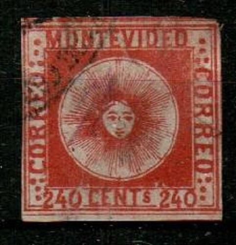 Uruguay Scott 6 Used (thin) - Catalog Value $150.00