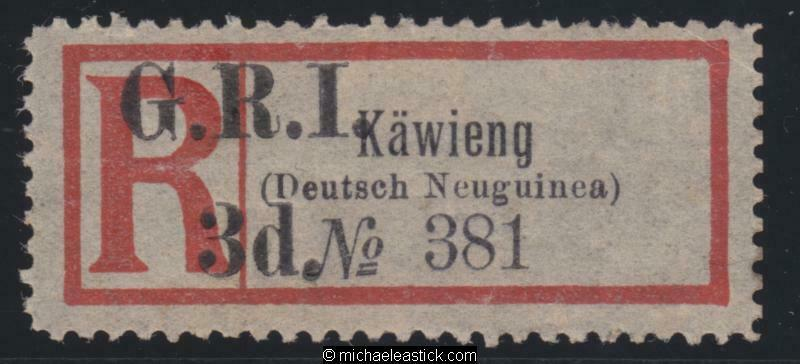 1915 New Guinea Registration Label surcharged GRI 3d for KAWIENG, SG 42 MH