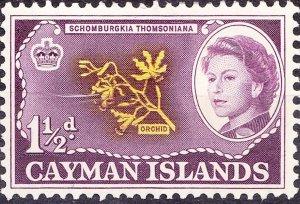 CAYMAN ISLANDS 1964 QEII 1.5d Yellow & Purple SG167 MH