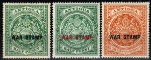 Antigua #MR1-3 F-VF Unused CV $8.10 (X903)