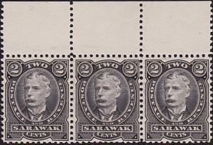 SARAWAK 1895 2c black colour trial perforated strip of 3...................70274