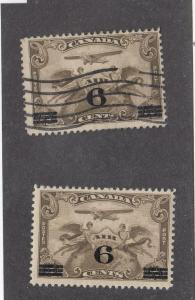 CANADA (MK95) # C3 VF-1MLH/1USED 6 on 5cts 2 C1 SURCHARGED /AIR MAIL CAT VAL $21