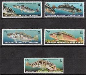 BRITISH ANTARCTIC 1999 Fish; Scott 275-79, SG 302-06; MNH