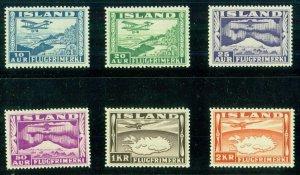ICELAND #C15-20 (204-9) Complete Airmail set, og, NH, VF, Scott $150.00
