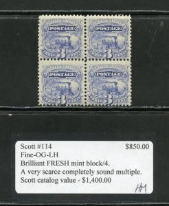 UNITED STATES 3c  TRAIN  SCOTT#114 L BLOCK W/GRILL  MINT LH(3) & NH(1)