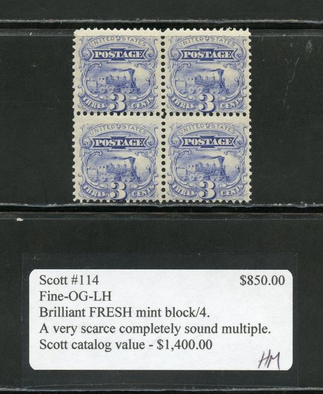 UNITED STATES 3c  TRAIN  SCOTT#114 L BLOCK W/GRILL  MINT LH(3) & NH(1)