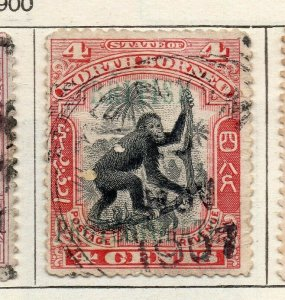 North Borneo 1901 Early Issue Fine Used 4c. Optd NW-113845