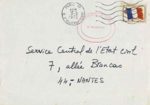 France Franchise Militaire Flag Military Stamp 1972 Paris 15, R d'Alleray to ...