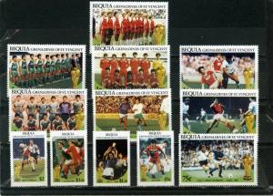 BEQUIA 1986 Sc#218-229 SOCCER WORLD CUP MEXICO SET OF 12 STAMPS MNH