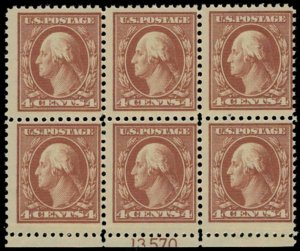 MALACK 503 F/VF OG NH, Plate block of 6, Fresh! pb2014