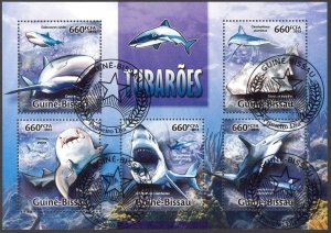 Guinea Bissau 2013 Fishes Sharks Sheet Used / CTO
