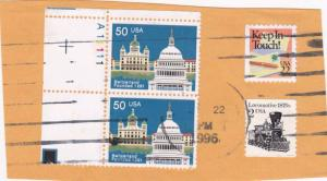 United States #2532 - Pair on Piece Plate# A11111 - 1991 Switzerland