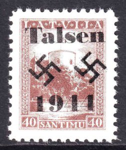 LATVIA 124 OR 150 TALSEN OVERPRINT OG NH U/M VF BEAUTIFUL GUM