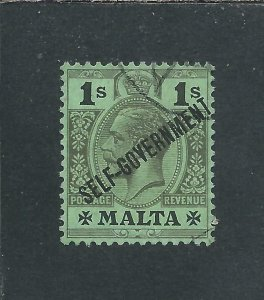 MALTA 1922 1s BLACK/EMERALD FU SG 110 CAT £30