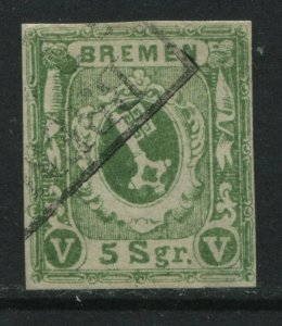 Bremen 1859 5 sgr green used
