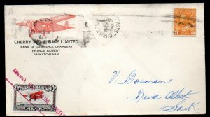 Canada: 1930 Cherry Red Airline 10c + KGV 1c. cover to Prince Albert, Sask.