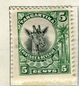 TANGANYIKA; 1925 early Giraffe issue fine mint hinged 5c. value