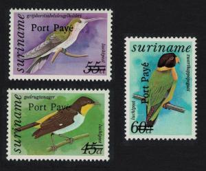 Suriname Birds optd 'Port Paye' 3v SG#1585-1587