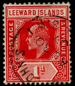 LEEWARD ISLANDS SG38, 1d bright red, FINE used.