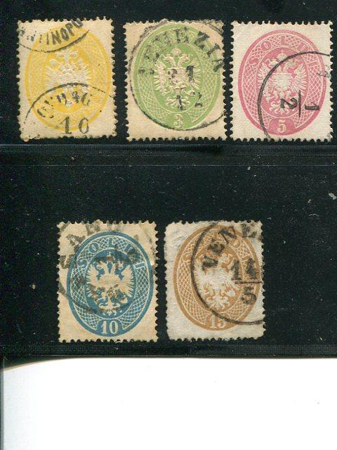 Austria Lombardy #15-19 Used F-VF Cat $800 +
