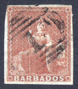 Barbados 1855 (4d) Brown Red Blued Paper SG 5 Scott 4 VFU Cat £275($363)